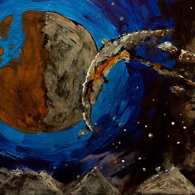 Malereien Crescent Moon - Acryl & Rost - Racuun