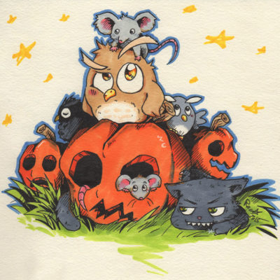 Illustration Halloween - Kürbis, Eule, Katze - Racuun