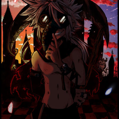 Mangazeichnung OC Neo Shadows of CED mit Pestmaske und Panda - Racuun