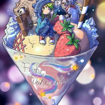 Illustration Weihnachts-Postkarte Lecker Eis und Schnee - Racuun