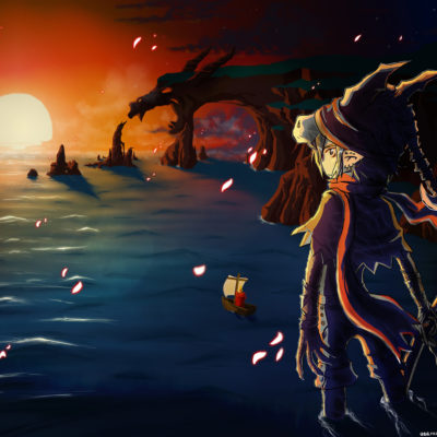 Illustration Drachenfelsen im Sonnenuntergang von Racuun