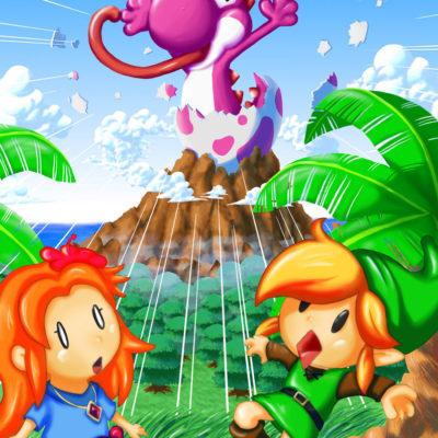 FanArt Zelda Link's Awakening mit Yoshi von Racuun