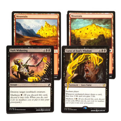 MTG Magic altered Art von Racuun - Anje Commander Cheese: Mountain, Dark Withering, Curse of Fool's Wisdom