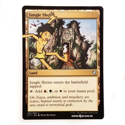 MTG Magic altered Art von Racuun - Jungle Shrine - Mowgli Dschungelbuch